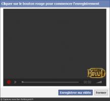 Vue de l'écran d'enregistrement pour la webcam
