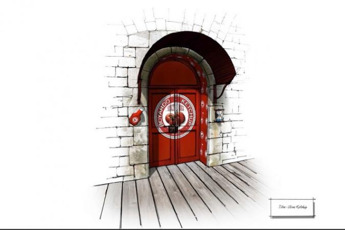 Fort Boyard 2014 - Dessin de la porte de la Ketchuperie