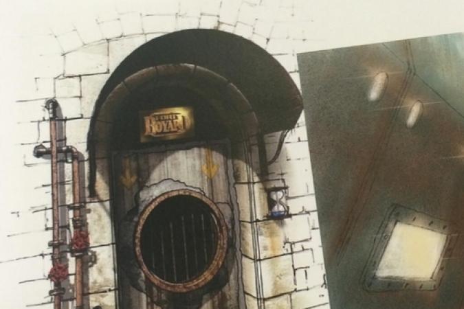 Fort Boyard 2014 : Desssin d'une nouvelle porte d'une épreuve (24/03/2014 - F. Firmin-Guion)