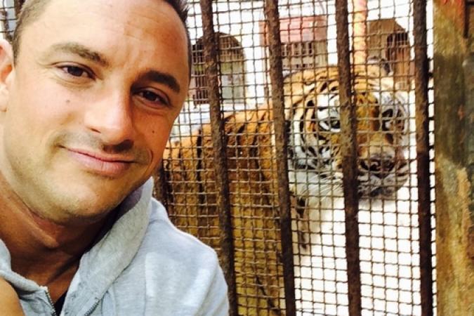 Fort Boyard 2015 : Cyril ANDRE (Mister Boo) et un tigre (23/05/2015)
