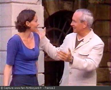 Fort Boyard 1999 : Lors de la 10e émission, Patrice Laffont dit au revoir à Cendrine Dominguez