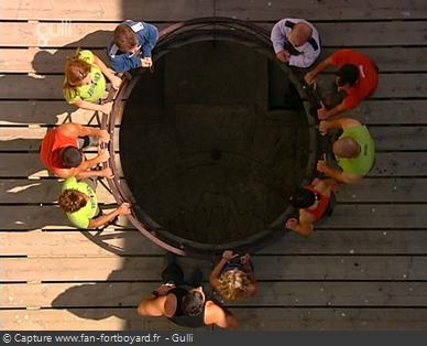 Fort Boyard 2005 : L'équipe arrive au rond central