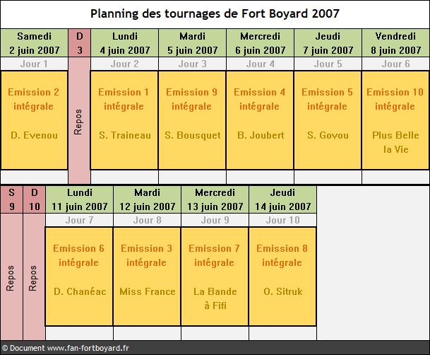 Fort Boyard 2007 - Planning des tournages