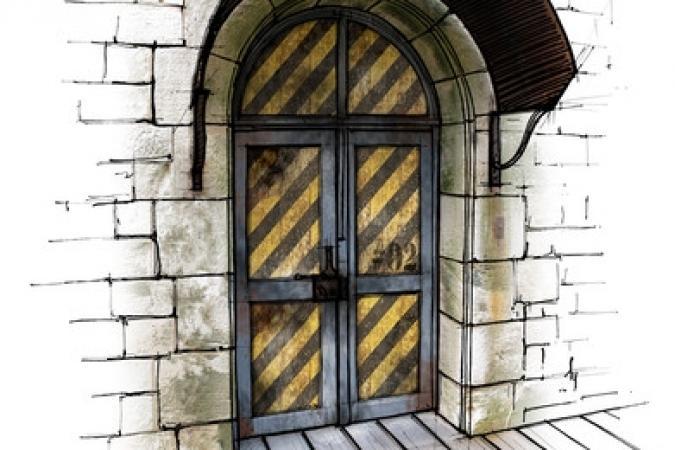Fort Boyard 2011 - Dessin de la porte des Etriers suspendus