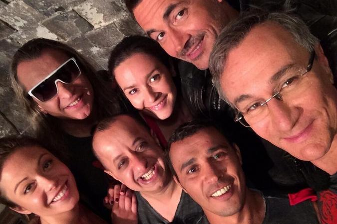 Fort Boyard 2014 : Brahim ASLOUM, Dounia COESENS, Laurent PETITGUILLAUME, Emmanuelle BOIDRON, Booder, Soma RIBA (12/07/2014)