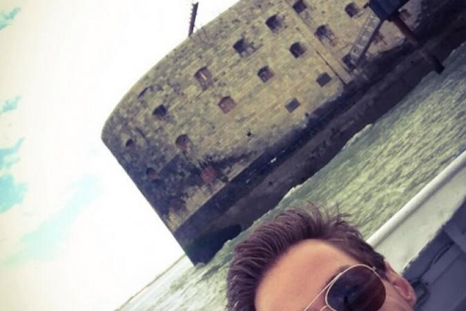 Fort Boyard 2014 : David LANTIN devant le fort (28/05/2014 - D. Lantin)