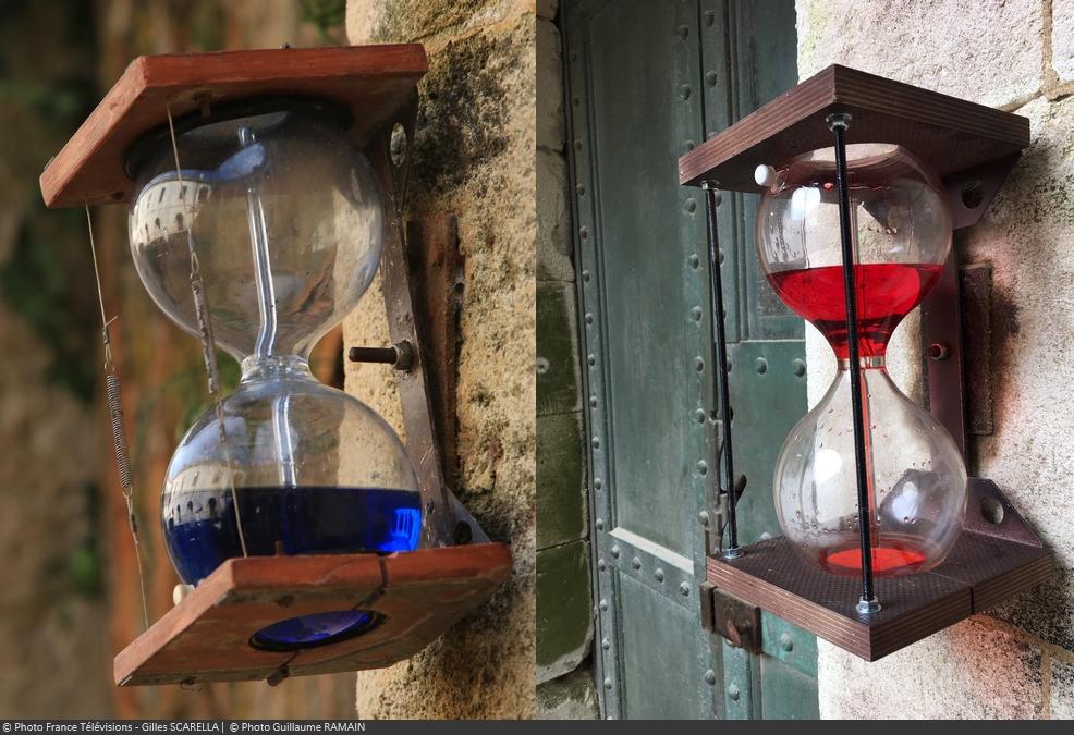 Fort Boyard 2017 : Comparaison d'une clepsydre bleue et rouge