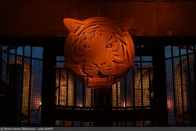 Fort Boyard 2019 - La tête de tigre au-dessus de la porte de la Salle du Trésor
