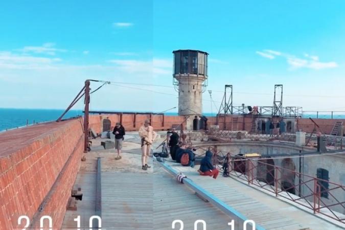 Fort Boyard 2019 - Vue (recomposée) des tournages sur la terrasse pour les aventures (21/05/2019)