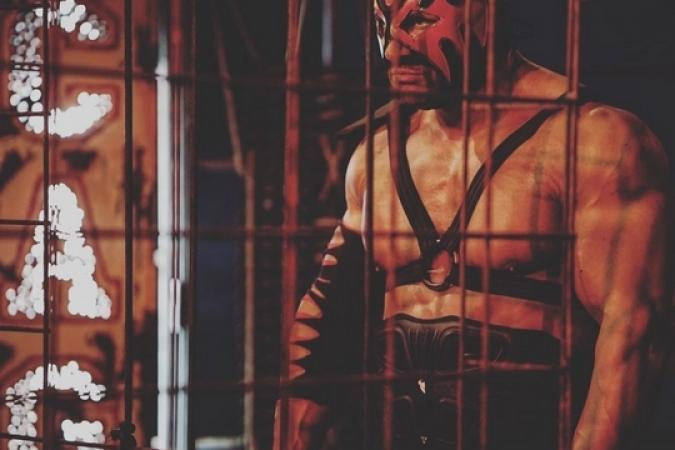 Fort Boyard 2019 - Mister Boo dans la Cage lors des démos des duels(après les tournages)