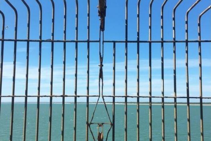 Fort Boyard 2020 - La cage des Pierres extérieures vue de la fenêtre 221 (09/07/2020)