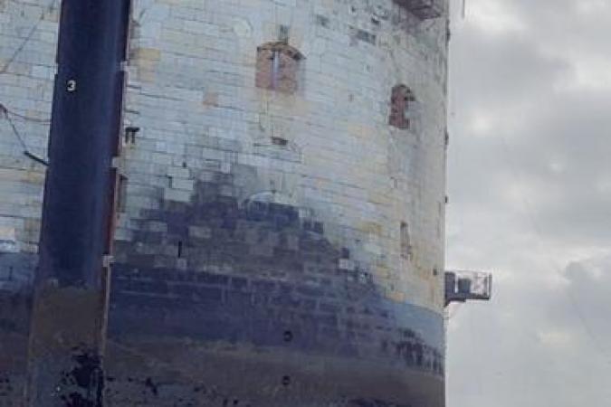 Fort Boyard 2021 - Vue du fort avant le grutage sur la plate-forme (25/05/2021)
