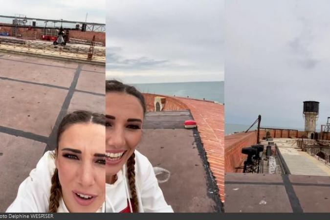 Fort Boyard 2021 - Pause sur la terrasse pour Delphine Wespiser (28/05/2021)