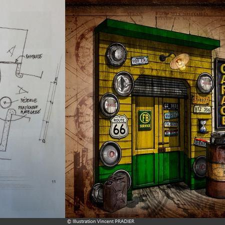 Coulisses des tournages de Fort Boyard - Plan d'implantation du Percolateur (2012) et illustration du Garage (2015)