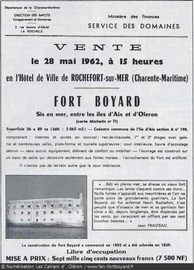 Affiche de la mise en vente du Fort Boyard