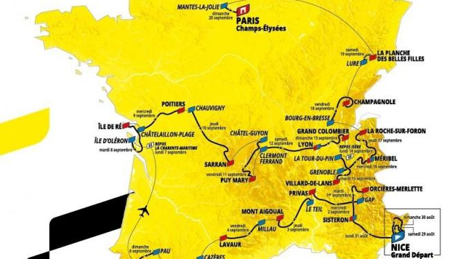 Le tracé complet du Tour de France 2020
