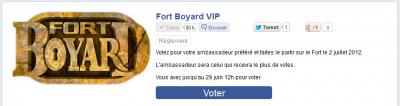 Page d'accueil de l'application du concours Fort Boyard VIP
